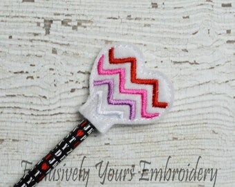 Chevron Heart Pencil Toppers - Party Favor - Valentine - Classroom Prizes - I Love You - Be Mine - Happy V-Day - Small Gift - Back to School