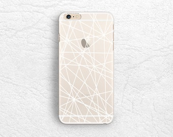 White outline Abstract clear transparent phone case for iPhone 7, Sony z5 compact, HTC one M9, LG Nexus 5X, Samsung S7 S8, Google Pixel -P59