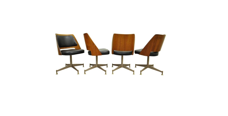 4 vintage mid century modern bentwood walnut dining chairs b for Mid century modern dining chairs vintage