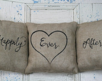 Happily Ever After Pillow Set, Burlap Pillows, Rustic Decor, Decorative Pillows