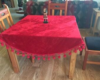 Red Crushed Circular Velvet Tablecloth Pom Poms Christmas Retro Tablecloth Red Circle Tablecloth