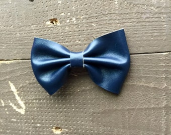 Navy faux leather bow