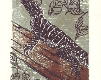Original lino and woodcut of a water dragon
