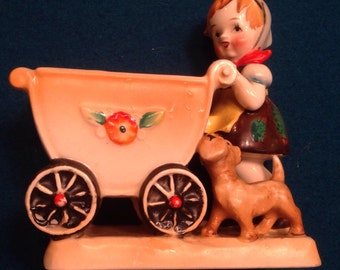 Vintage Occupied Japan Figurine Porcelain Girl Baby Carriage Planter and Dog