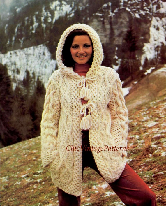 Ladies Aran Cardigan With Hood Knitting Pattern : Knitted Jacket ... Ladies Aran Hooded Cardigan ... Stylish