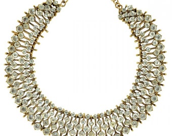 Clear rhinestone statement necklace with GOLD frame inspired by Kate Middleton