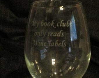 Book Club...Wine Labels Funny Wine Glasses