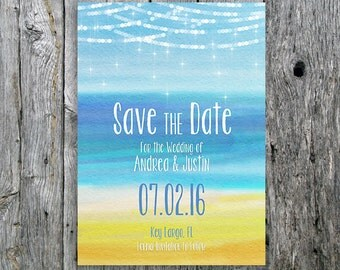 Beach Wedding Save the Date with Lights and Ocean - Printable Wedding Save the Date card