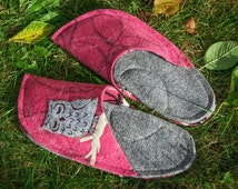 Felted House Slippers, Animal Slippers, Sleeping Owl Patch, Pink Grey Wool Felt, Funny Women Slippers, Personalized Girls Gift, House Shoes