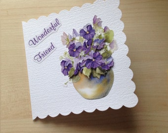 Handmade Decoupage Friendship Card