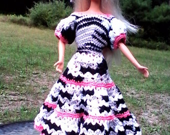 ZEBRA DRESS and HAT for Barbie or other 11 inch dolls.