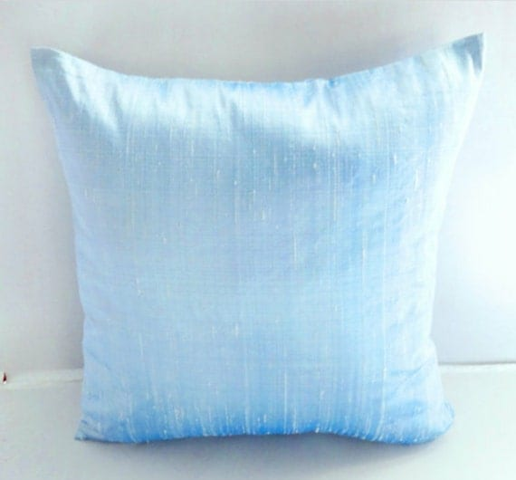 Light Blue Silk Throw Pillow : OCEAN BLUE SILK Pillow Cover silver pillow by ZylstraArtAndDesign