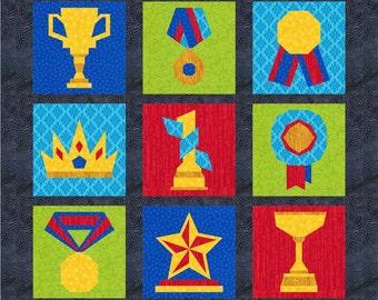 Awards, Trophy, Medal, Crown - 9 Quilt Block Patterns - Foundation Paper Piece Patch - PDF Download