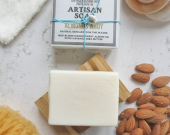 Almond & Shea Butter Soap with Dish - Artisan Soap from the Coast // Handmade Soap, Natural Soap, Unscented Soap, Vegan Soap, Soap Gift