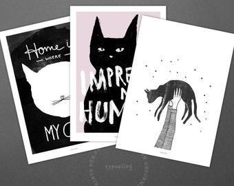 Postkarten Set No. 3 / Hi Cat, Impress Me, Cat, Card, Postcard, Set, Greeting Card, Envelope, Present, Message, Letter