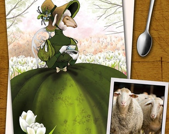 "Illustration printing-the elegant Lady Sheep/the elegant Lady Sheep-series ""elegant animals"""
