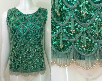 Vintage 1960s Green Sequin and Beaded Top - M