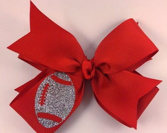 Red and sliver football hair bow / fall hair bow / red hair bow