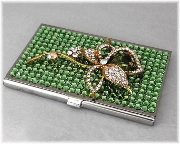 Swarovski rhinestone business card holder case metal credit for Bling business card holder