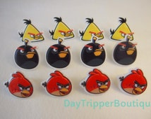 24  Angry Birds Cupcake Ring Favor Supplies Rings Topper Birthday