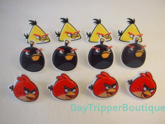 24 angry birds cupcake ring favor supplies rings topper for Angry birds cake decoration kit