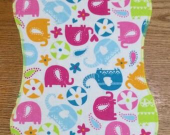 Burp Cloth, Neon Elephants
