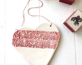 Ceramic Christmas Ornament - White Cristmas Decoration - Decorated Heart - White Ceramic Ornament