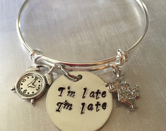 "Alice in wonderland Bracelet with clock rabbit and hand stamped ""i'm late i'm late""charms"
