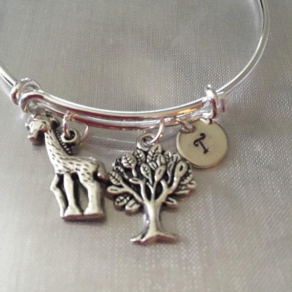 Giraffe Charm Bracelet: Giraffe Bracelet-personalized Giraffe Bracelet-giraffe Charm