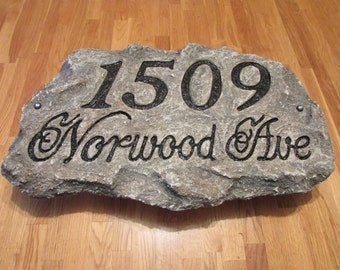 Address Plaque - Artificial Rock  - any color, text & design available