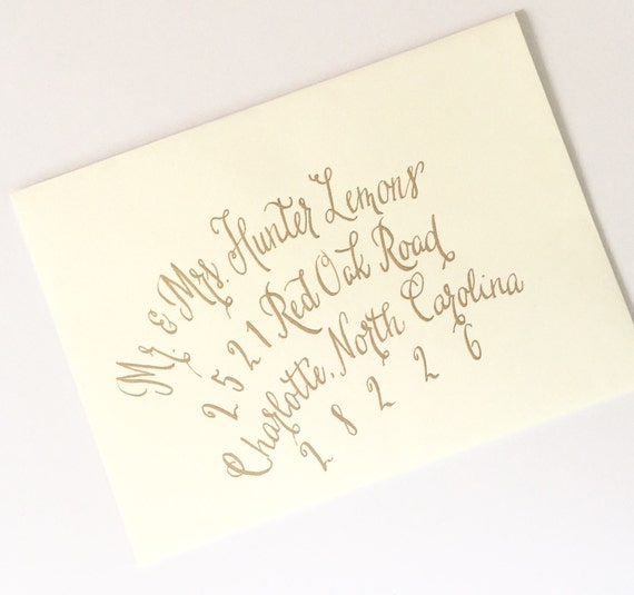 Modern calligraphy wedding save the date envelope by