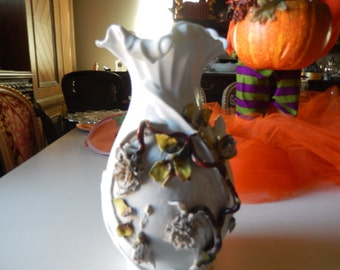 GERMANY VASE with APPLIQUE Rose Branch