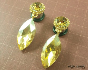 "Plugs Gauges - Gold Colored Crystal Dangle Plugs - 2ga (6mm), 0ga (8mm), 00ga (10mm), 7/16"" (11mm)"