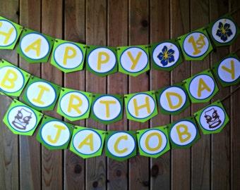 Luau Tiki Birthday Banner - hawaiian - party supplies - 1st birthday