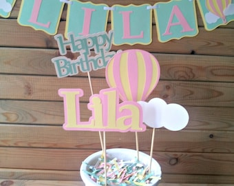 Pastel Hot Air Balloon Centerpieces - up up & away party - personalized - party supplies - table decorations - girls birthday