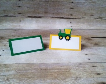 Tractor Place Cards / Food Tents - boy birthday - party supplies