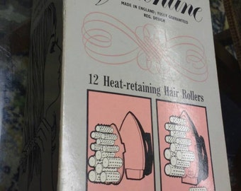 Vintage Valentine 12 Heat Retaining Rollers with Instructions and Hair Pins