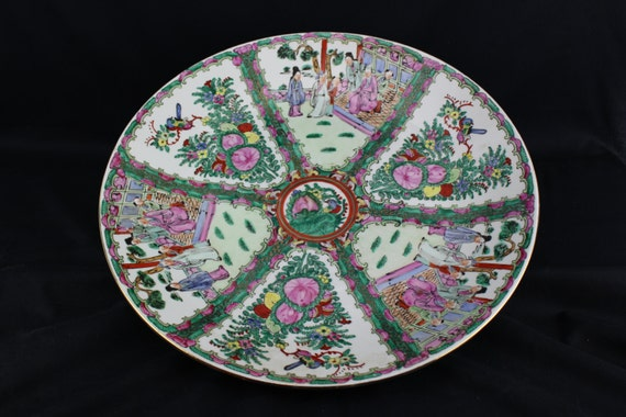 Vintage-Antique Chinese Porcelain-Canton Familee Rose Medallion-Charger Bowl- Circa. 1900-1940