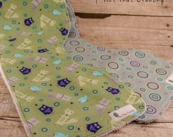 Baby Burp Cloths - Set of 2 Contour Burp Cloths - Woodland Creatures Burp Rag - Woodland Animals Burpies - Newborn Baby Gift Set