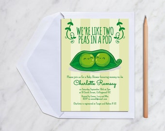 Two Peas In A Pod Twin Baby Shower Invitation Card Printable