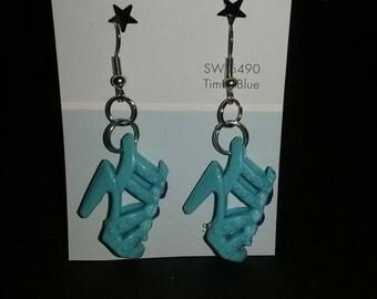 Light blue Barbie shoe earrings