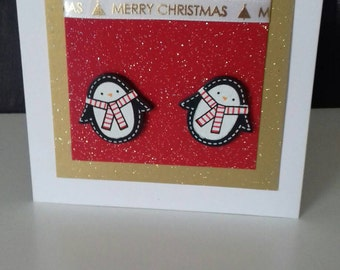 Sparkly Christmas Card, Penguin Lovers Card, Festive Card, Merry Christmas Wishes, Animal Cards,