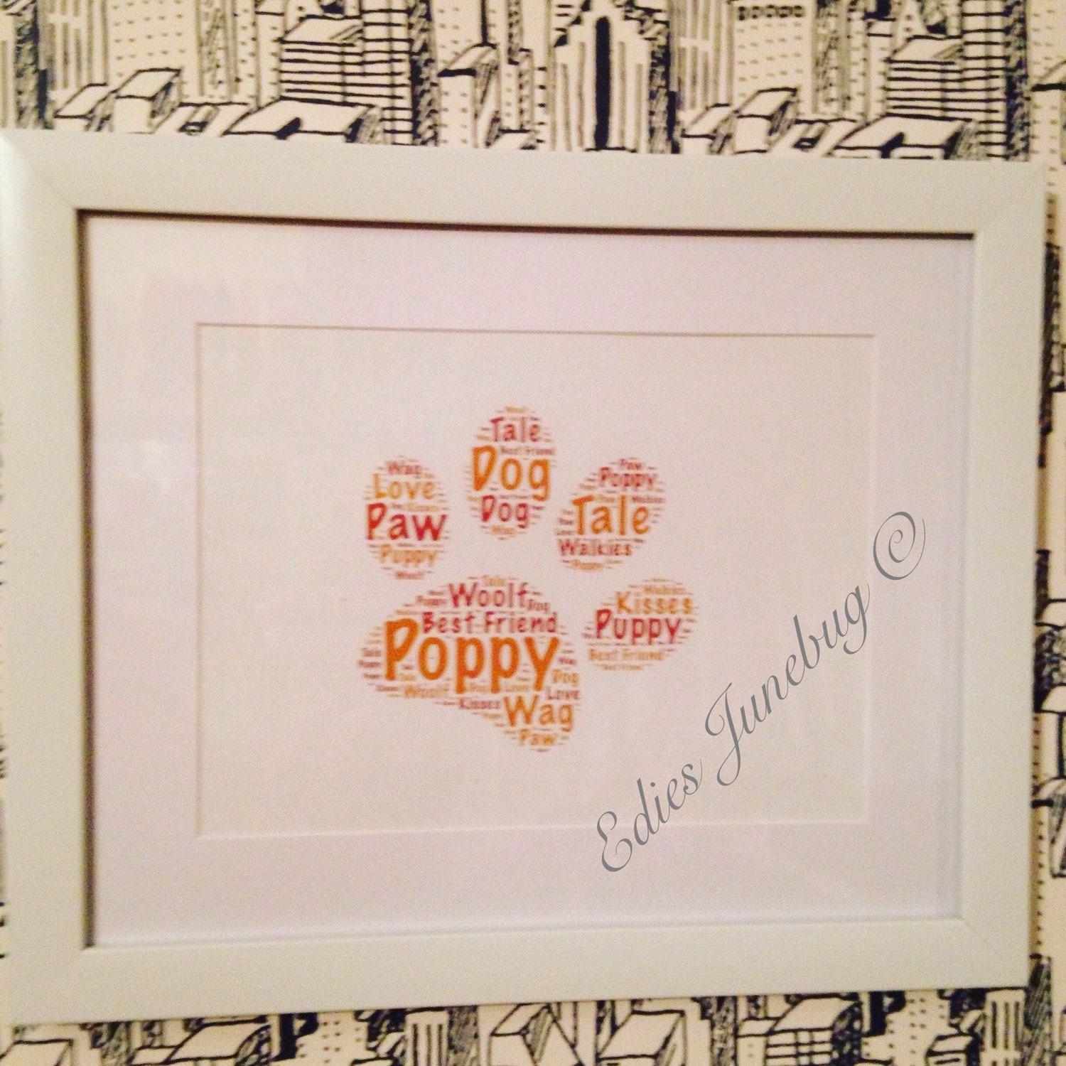 Scrapbook paper dogs - Paw Print Art Cruffs From The Dog Pet Word Collage Personalised Dog Typography Home Decor Birthday Gift Custom Design Dog