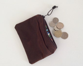 Waxed cotton coin purse, pouch, mens coin purse, small purse, childrens purse, stocking filler