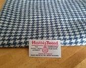 Harris Tweed Cloth Fabric Blue and Cream Houndstooth Luxury Handwoven 100% Pure Virgin Wool handwoven in Hebrides Scotland