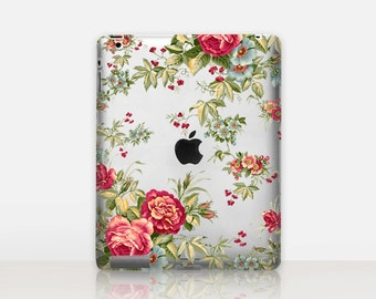 Vintage Floral Transparent iPad Case For - iPad 2, iPad 3, iPad 4 - iPad Mini - iPad Air - iPad Mini 4 - iPad Pro