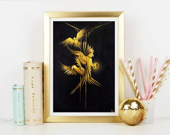 Golden Parrots of The Secret Jungle Art Print - Home Decor - Wall Art - Art Print