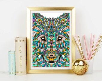 Wolf Spirit Animal Art Print - Home Decor - Hippie Art Print -  Art Print - Esoteric Print- Spiritual Print- Supernatural