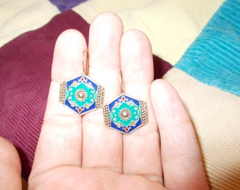 Art Nouveau solid sterling silver and gold wash blue and green enamel earrings