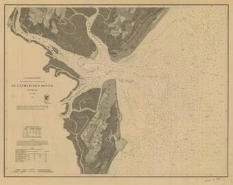 St. Catherine's Sound GA Historical Map 1867